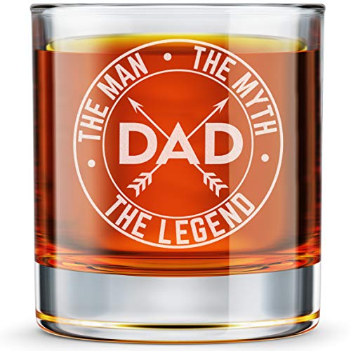 DADDY FACTORY Dad The Man The Myth The Legend Whiskey Glass - Funny New Dad Gifts - 10.25 oz Engraved Old Fashioned Bourbon Rocks Glass for Dad Birthday - Expecting Father Gift