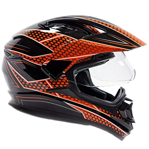 Typhoon XP14 Full Face Dual Sport Helmet Off Road UTV ATV Motorcycle Enduro - Red - XL