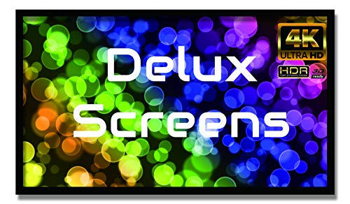 Delux Screens 150 inch 4K/8K Ultra HDR UHD Projector Screen - Active 3D Ready - 6 Piece Fixed Frame - Home Theater Movie Projection Screen - PVC Matte White - Velvet Border 150', 16:9