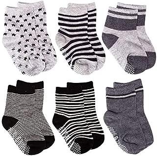 SuPoo 6 Pairs Baby Socks Non Skid Baby Cotton Socks Grip Socks Soft Anti-Slip Socks Baby Toddlers