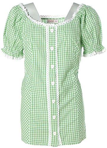 SHEEGO STYLE Damen Karo Trachtenbluse Karobluse Bluse Grün Weiß 42