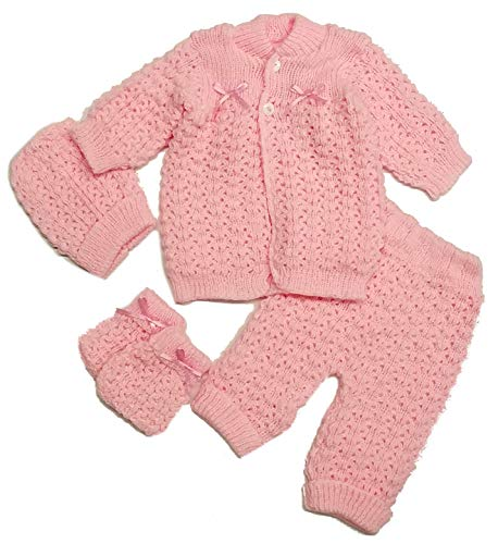 Abelito Baby's Four Piece Crochet Outfit Set One Size Pink