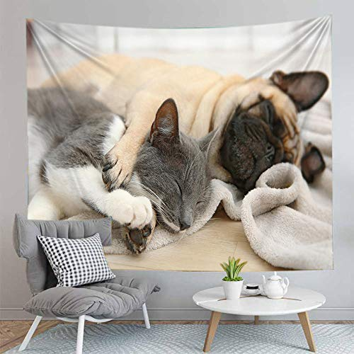 Fashion decoration Psychedelic tapestry Cute puppy and cat pug husky dog Bohemian tapestry Mandala Living room bedroom decoration Mandala(M/130x150cm flannel)