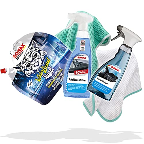 detailmate Auto Winter Set: Sonax WinterBeast AntiFrost + KlarSicht 3 L Scheibenreiniger gebrauchsfertig, ScheibenEnteiser Sprühflasche 750 ml, AntiBeschlag Spray 500ml, 2x Mikrofaser Waffeltuch