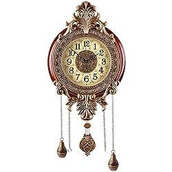 Aero Snail Large Retro Style Vintage Royal Line Silent High-end Luxury Metal Wood Wall Clock with Swinging Pendulum