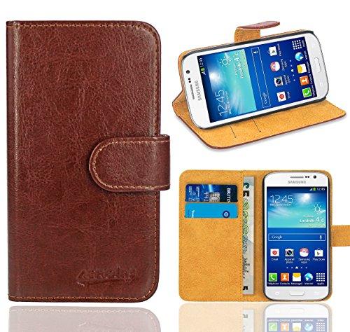Samsung Galaxy Grand Neo / Grand Neo Plus Handy Tasche, FoneExpert® Wallet Hülle Flip Cover Hüllen Etui Ledertasche Lederhülle Premium Schutzhülle für Samsung Galaxy Grand Neo / Grand Neo Plus (Wallet Braun)