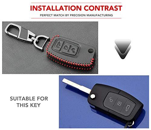 HAKFV Auto sleutelhanger Auto Styling, Lederen sleutelhanger ring cover case houder Voor Ford Focus 2 3 4 MK2 MK3 MK4 Kuga Edge Mondeo Fusion
