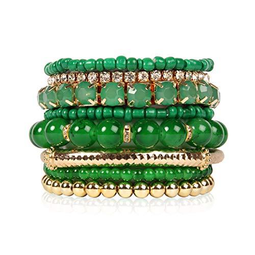 Multi Color Stretch Beaded Stackable Bracelets - Layering Bead Strand Statement Bangles (Original - Dark Green, 7)