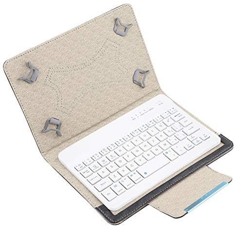 Kafuty Supporto per Tablet da 7 Pollici - Custodia Protettiva Universale in PU + Tastiera Bluetooth per Android iOS Win, Supporto per Tablet Pieghevole Adatto per Video, Film e Lavoro di Affari