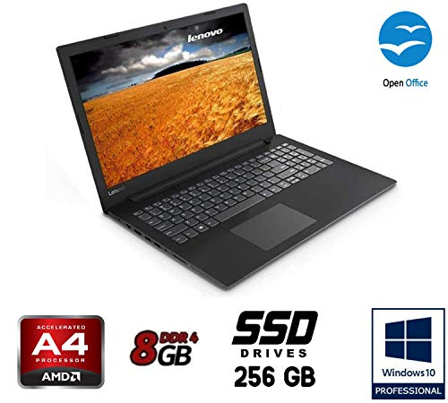 Notebook Lenovo cpu A4 9125 burst fino a 2,6GHz , display da 15,6' HD, DDR4 8Gb, SSD da 250Gb , Radeon R3, Wi-fi, Lan, Bt, Win10 Pro, Antivirus, Pronto All'uso Garanzia Italia