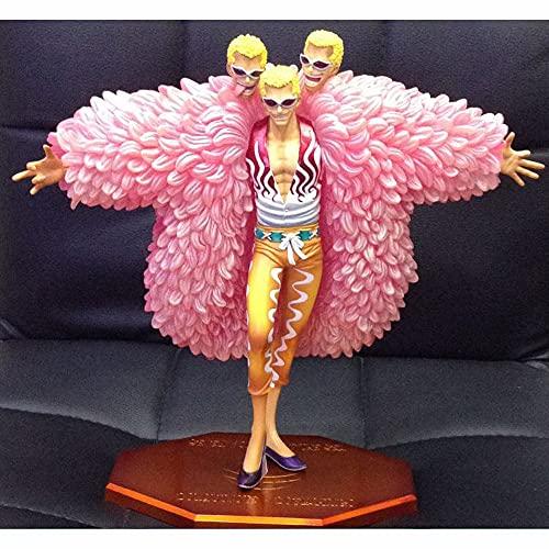 Akazan 26cm One Piece The Rogue Of Qiwuhai Föränderligt ansikte Doflamingo Tide Play Karaktär Modell Staty Figur Leksaker Samlarobjekt Dekorationer Figurer PVC Anime