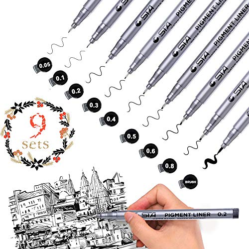 Black Precision Micro-Line Fineliner Ink Pens, 9pcs Waterproof Archival Ink Multiliner, Fine Point Liner Pen for Artist Illustration, Anime, Sketching, Technical Drawing, Office, Manga Pens Writing