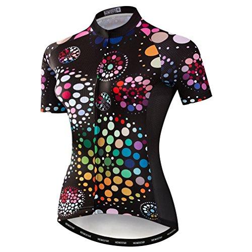 Weimostar Mountainbike-Jersey-Shirts der Radfahren Jersey-Frauen Kurze Hülse Straße Fahrrad-Kleidung Pro-Team MTB übersteigt Sommer-Kleidung Schwarz Größe XL