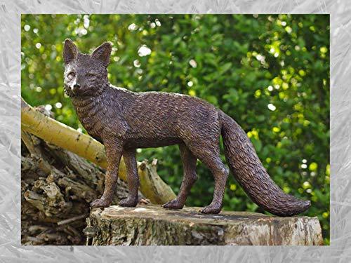 IDYL Escultura de bronce de zorro   38 x 15 x 54 cm   Figura de animal de bronce hecha a mano   Escultura de jardín o estanque   Artesanía de alta calidad   Resistente a la intemperie