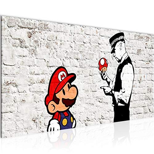 Bilder Mario and Cop by Banksy Streetart Wandbild Vlies - Leinwand Bild XXL Format Wandbilder Wohnzimmer Wohnung Deko Kunstdrucke Weiß 1 Teilig - MADE IN GERMANY - Fertig zum Aufhängen 006512a