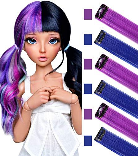 MQY Multi Color Wig Pieces Per Bambine e Bambole Clip In/On Extension capelli colorati (Viola blu)