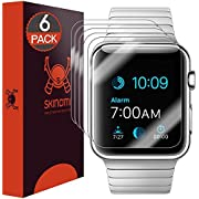 Skinomi TechSkin [6-Pack] Clear Screen Protector for Apple Watch 42mm (Series 1/Series 2) (Updated Version) [Full Coverage] Anti-Bubble HD TPU Film