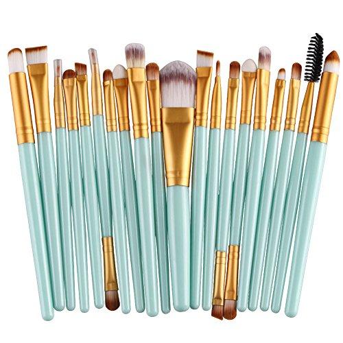 KOLIGHT Pack of 20pcs Cosmetic Eye Shadow Sponge Eyeliner Eyebrow Lip Nose Foundation Powder Makeup Brushes Sets (Gold&Green)