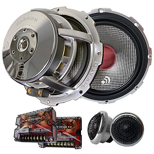 Massive Audio Carbon 6 – 6.5 Inch, 280 Watts RMS and 500 Watts MAX, 25mm Silk Dome Tweeter, 4 Ohm, 12dB Linkwitz–Riley Crossover, Component Kit Speakers. Sold as Pair