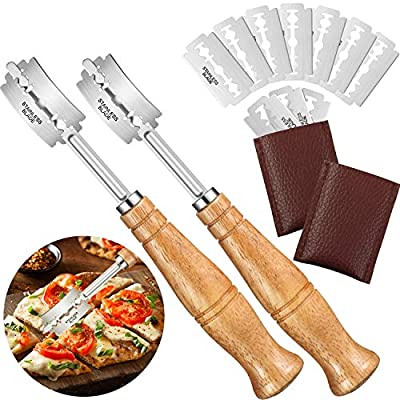 2 Sets Wooden Handle Bread Lame Dough Scoring Tool Bread Slashing Tool with 10 Pieces Replacement Blades and 2 Pieces Leather Bags for Bread Baking Supplies