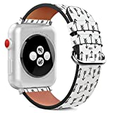 Compatible with Apple Watch - 38mm / 40mm (Serie 5,4,3,2,1) Leather Wristband Bracelet with Stainless Steel Clasp and Adapters - Arrows Wallpaper