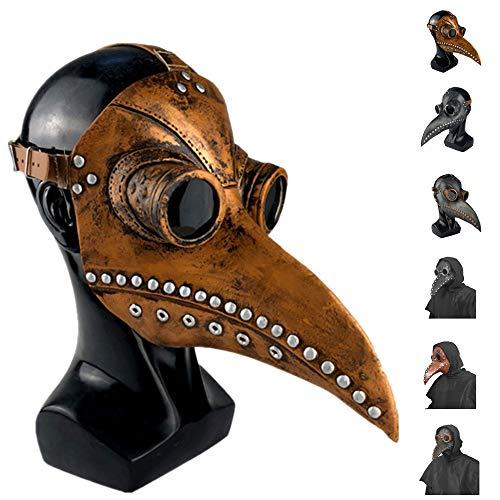 Mscara de Halloween Plaga Bird Doctor Disfraz Steampunk nariz larga mscara de pjaro Props (A, OneSize)