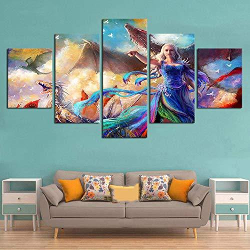 5 Piezas Cuadro sobre Lienzo Imagen,Cuadro Decorativo Grande,Cuadro sobre Impresión Lienzo 5 Piezas Cuadro Decorativo Abstracto Salon Dormitorio Carteles Abstractos de TV Play (150x80CM)