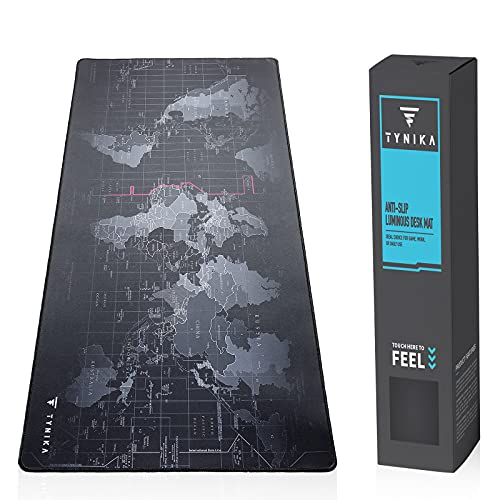 TYNIKA Extended Large Gaming Mouse Pad (31.5x11.8 in, Worldmap) - XXL Mousepad with Anti Fray Stitched Edges & Non-Slip Rubber Base - Desk Pad Protector/Waterproof Mouse Mat for Work & Gaming