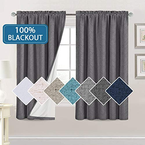 Bedroom 100% Blackout Curtains Textured Linen Look Room Darkening Drapes for Living Room, Thermal Insulated Rod Pocket Curtains Burlap Fabric with White Liner(Grey, 2 Panels, 52x63-Inch)
