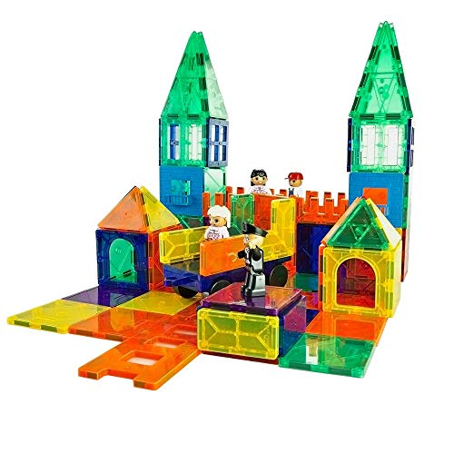 MagGenius Magnet Tiles 100 Piece Set Includes All The New Magnet Tiles and Clickins to Build The Perfect Castle Includes Clip in Windows and All New Magnet People
