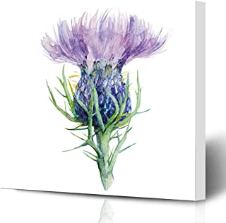 Ahawoso Canvas Prints Wall Art Printing 8x12 Purple Scottish Milk Thistle Flower Watercolor Painting Nature Liver Scotland Drawing Ink Garden Painting Artwork Home Living Room Office Bedroom Dorm