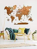 Decoración de pared de mapa del mundo de madera de lujo, Arte de la pared de mapa mundial, Arte de la Pared de Oficina,...