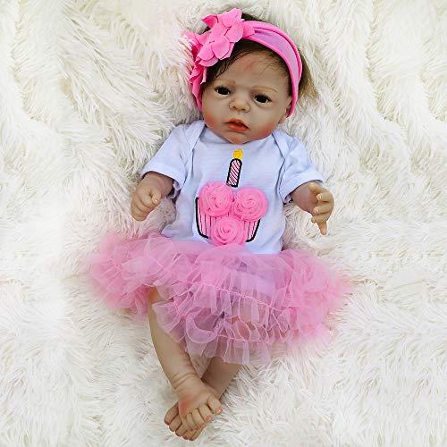 TERABITHIA 22 Zoll Real Life Reborn Baby Doll weiche Silikon Vinyl Ganzkörper Mädchen Puppen Geburtstagsgeschenk