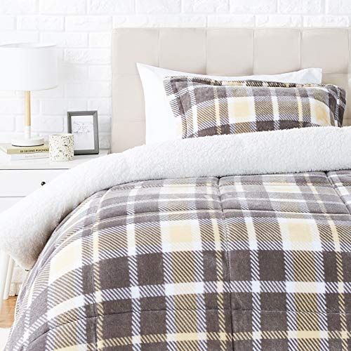 Amazon Basics Ultra-Soft Micromink Sherpa Comforter Bed Set - Taupe Plaid, Twin