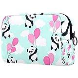 Bolsa para brochas de maquillaje personalizable, bolsa de aseo portátil para mujer, bolso cosmético, organizador de viaje, lindo panda volando en el cielo