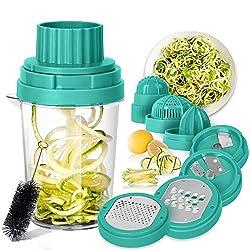 SveBake Spiralschneider Gemüse Hand 8 in 1, Julienneschneider, Zoodle Maker, Spiralizer für Karotte, Gurke, Zucchini, Zwiebel   Grün