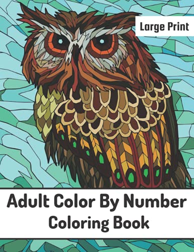 Large Print Adult Color By Number Coloring Book: Easy Large Print Mega...