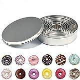 12 Unids Cortador de galletas redondo de acero inoxidable Moldes de anillo de metal para hornear para masa Fondant Circle Donut Pastry Donut Cutters Fácil de usar y limpiar