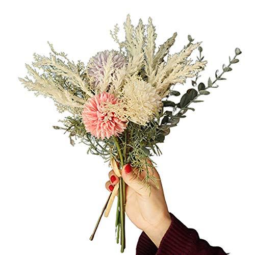 WanBeauty 1 Mazzo di Fiori Artificiali Bouquet da Sposa Bouquet da Giardino Fai-da-Te per La Festa Nuziale, Arrangiamenti per La Tavola del Ministero degli Interni, Regalo per Il Festival Rosa Viola