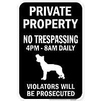 PRIVATE PROPERTY ブラックマグネットサイン:チャイニーズクレステッド シルエット 英語 私有地 無断立入禁止