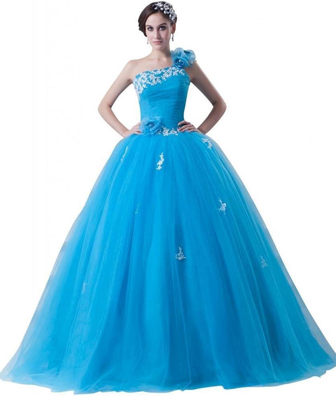 Dearta Women's One Shoulder Floor Length Tulle Quinceanera Dress