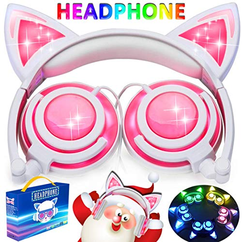 AMENON Kids Headphones for Girls Boys Toddler, Cat Ear Headphones with Full Lights USB Rechargeable Foldable Wired Over/On Ear Game Headsets for School Outdoor Travel Camping (06-LED Classic Black)