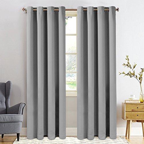 FAIRYLAND Vorhang 245x140- Blickdicht Gardinen mit Ösen - Verdunkelungsvorhang - Wärmeisoliert für Kinderzimmer 8 Löcher pro Stück,1 Paar(2 Stück) Grau