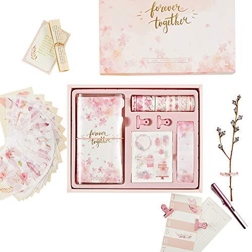 JJYHEHOT gioco Taccuino Taccuino Diario con segnalibro nastro rosa, adesivo e regalo della clip Ragazze