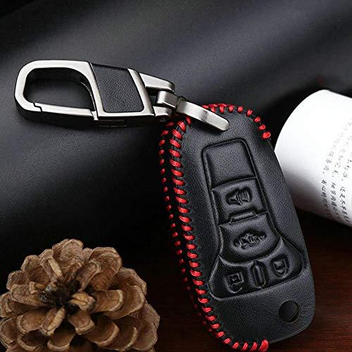 YUFFD Accesorios de Carcasa de Llave de Coche, Funda de Cuero para Llave de Coche, para Ford Fusion Mondeo Mustang F-150 Lincoln Edge Explorer MKRed Line
