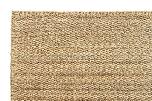 HAMID Jute Teppich - Granada Teppich 100% Natürliche Jutefaser - Weicher Teppich und Hohe Festigkeit - Handgewebt - Wohnzimmer, Esszimmer, Schlafzimmer, Flurteppich - Natürlich (110x60cm) - 3