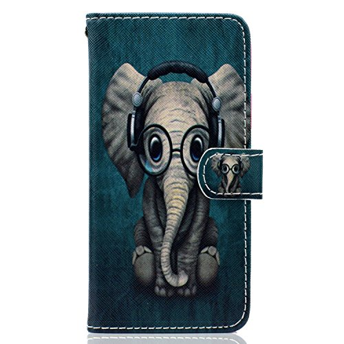 MoreChioce kompatibel mit Huawei Honor 9 Lite Hülle, Huawei Honor 9 Lite Lederhülle, Bunt Baby Elefant Muster Leder Flip Wallet Hülle im Bookstyle Klapphülle Magnetische Ständer, Kartenfächer