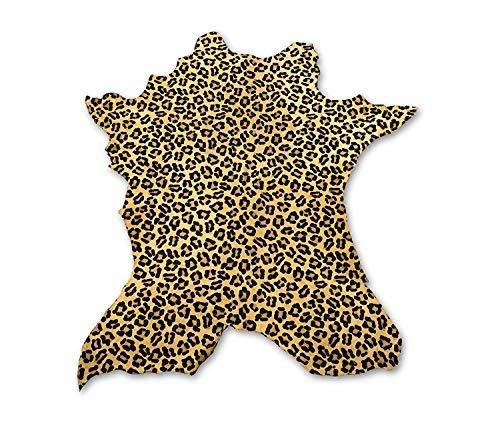 Zerimar Alfombra Piel de Vaca Natural Teñida Leopardo   Medidas: 105x90 cm   Piel para Artesanos   Alfombra Salón   Alfombra Decoración   Piel para Manualidades