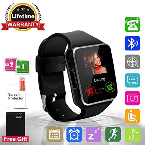 Bluetooth SmartWatch con Macchina Fotografica,Touchscreen SmartWatch, Orologio Intelligente,Watch Phone with Sim Card Per Android Samsung IOS Iphone 7 Plus 6 6S Uomini Donne Bambini Ragazze Ragazzi