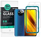 Ibywind Protector de Pantalla para Poco X3 NFC/Poco X3 PRO [2 Piezas],con Protector de Lente de Cámara,Atrás Pegatina Protectora Fibra de Carbono,Incluyendo Kit de instalación fácil